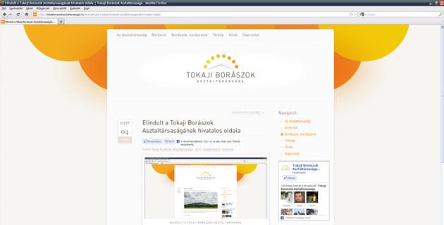 Tokaji Borászok Asztaltársasága - webdesign